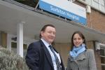 Helen and Cllr Paul Johnston outside Surbiton Hospital 1