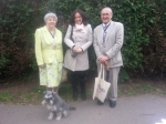 Cllr. Karen George at the Alpha Road Fun Day with Mayor Cllr. Penny Shelton, Cllr. Alan Dear and Archie.